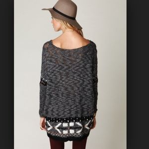 Free People Oversized Fairisle Trimmed Sweater S